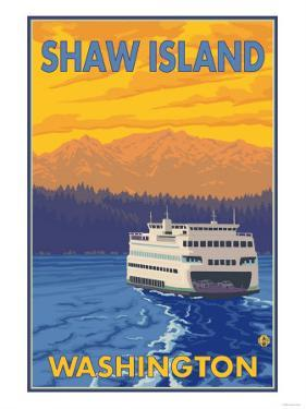 Ferry and Mountains, Shaw Island, Washington by Lantern Press