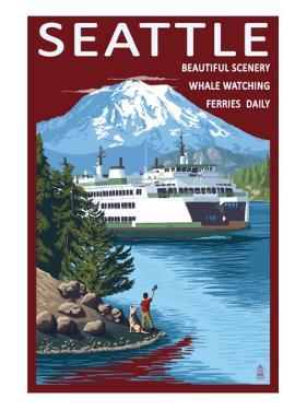 Ferry & Mount Rainier Scene - Seattle, Washington by Lantern Press