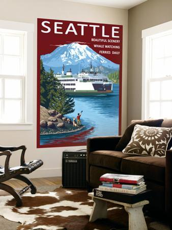 Ferry & Mount Rainier Scene - Seattle, Washington by Lantern Press