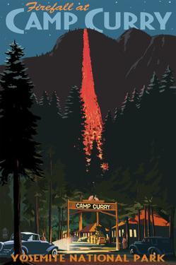 Firefall and Camp Curry - Yosemite National Park, California by Lantern Press