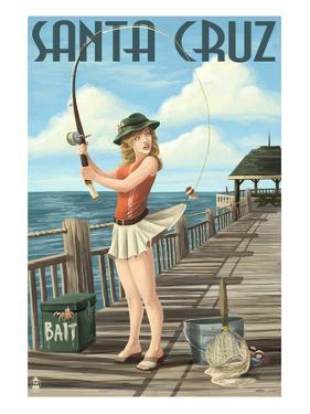 Fishing Pinup Girl - Santa Cruz, California by Lantern Press