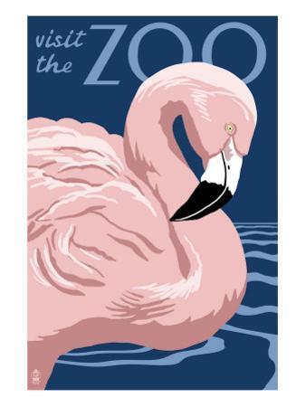 Flamingo - Visit the Zoo by Lantern Press