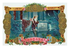 Flor de Romeo Brand Cigar Box Label, Famous Romeo and Juliet Balcony Scene by Lantern Press