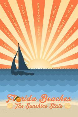 Florida - Beach Scene with Rays and Sailboat by Lantern Press