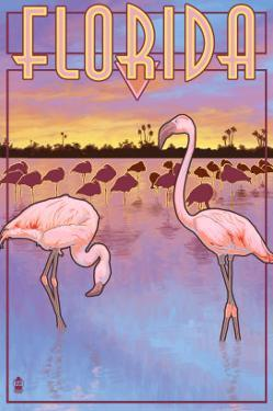 Florida, Flamingos Scene by Lantern Press