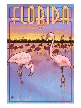 Florida, Flamingos Scene by Lantern Press