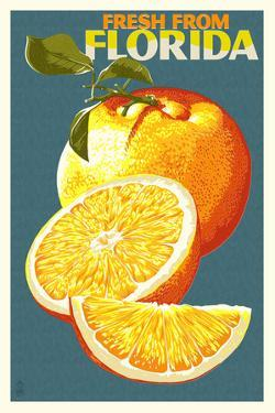 Florida - Fresh Oranges - Letterpress by Lantern Press