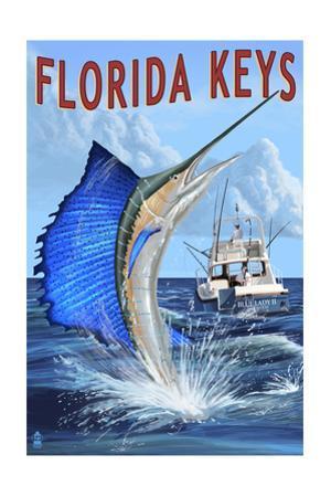 Florida Keys, Florida - Sailfish Scene by Lantern Press