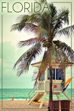 Florida - Lifeguard Shack and Palm by Lantern Press
