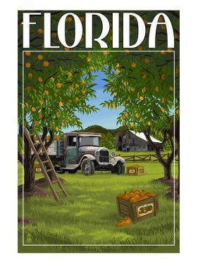 Florida - Orange Grove with Truck by Lantern Press