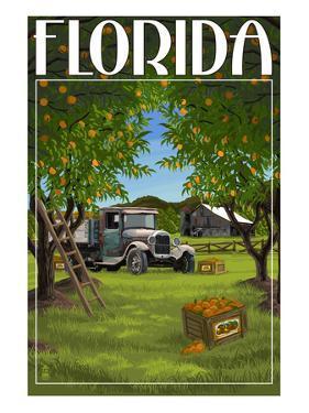 Florida - Orange Grove with Truck by Lantern Press