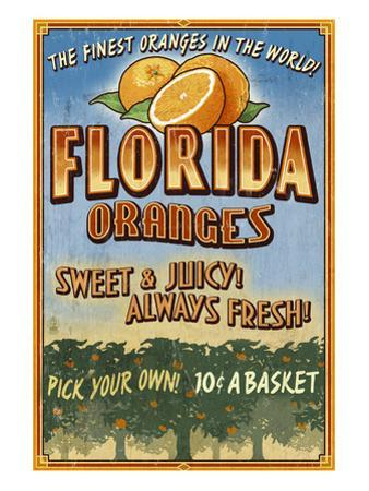 Florida - Orange Orchard Sign by Lantern Press