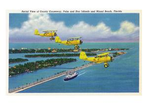 Florida - Planes Flying over Causeway, Miami Beach by Lantern Press