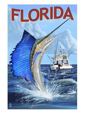 Florida - Sailfish Scene by Lantern Press