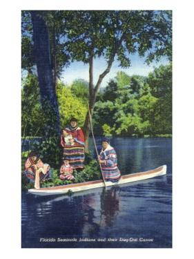 Florida - Seminole Indians by a Dug-Out Canoe by Lantern Press