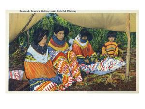 Florida - Seminole Ladies Making Colorful Clothing by Lantern Press