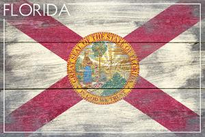 Florida State Flag - Barnwood Painting by Lantern Press