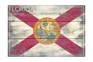 Florida State Flag - Barnwood Painting by Lantern Press