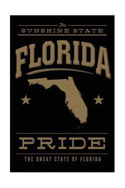 Florida State Pride - Gold on Black by Lantern Press