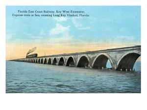 Florida - View of the Key West Extention of the FL East Coast Railroad by Lantern Press