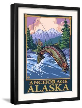 Fly Fishing Scene, Anchorage, Alaska by Lantern Press