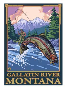 Fly Fishing Scene, Gallatin River, Montana by Lantern Press
