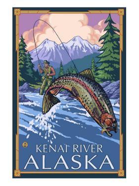 Fly Fishing Scene, Kenai River, Alaska by Lantern Press