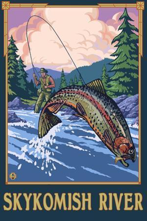 Fly Fishing Scene - Skykomish River, Washington by Lantern Press