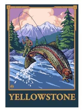 Fly Fishing Scene, Yellowstone National Park by Lantern Press