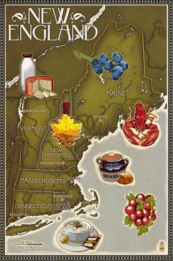 Foods of New England Map by Lantern Press