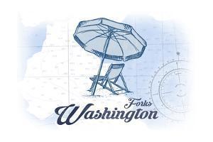 Forks, Washington - Beach Chair and Umbrella - Blue - Coastal Icon by Lantern Press