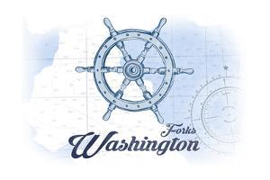 Forks, Washington - Ship Wheel - Blue - Coastal Icon by Lantern Press