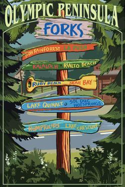 Forks, Washington - Sign Destinations by Lantern Press