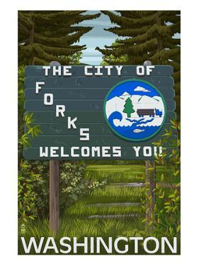 Forks, Washington - Town Welcome Sign by Lantern Press