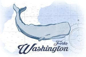 Forks, Washington - Whale - Blue - Coastal Icon by Lantern Press