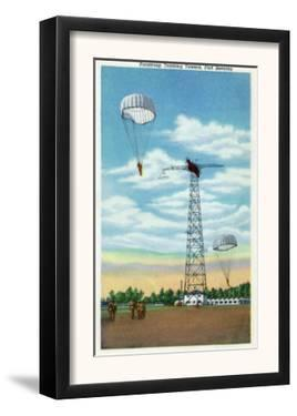 Fort Benning, Georgia, View of Paratroop Training Towers, Parachutes by Lantern Press