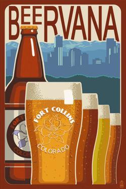 Fort Collins, Colorado - Beervana Vintage Sign by Lantern Press