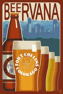 Fort Collins, Colorado - Beervana Vintage Sign by Lantern Press
