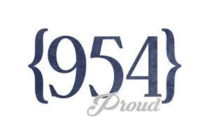 Fort Lauderdale, Florida - 954 Area Code (Blue) by Lantern Press