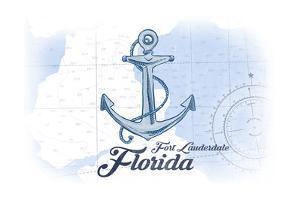 Fort Lauderdale, Florida - Anchor - Blue - Coastal Icon by Lantern Press