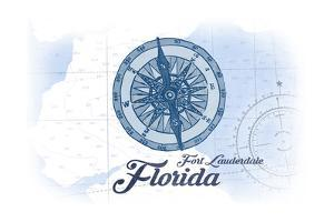 Fort Lauderdale, Florida - Compass - Blue - Coastal Icon by Lantern Press