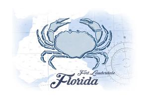 Fort Lauderdale, Florida - Crab - Blue - Coastal Icon by Lantern Press