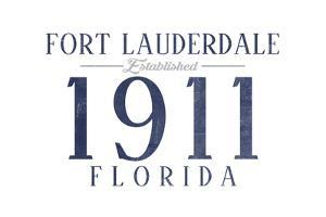 Fort Lauderdale, Florida - Established Date (Blue) by Lantern Press