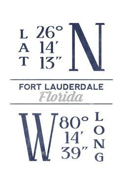 Fort Lauderdale, Florida - Latitude and Longitude (Blue) by Lantern Press