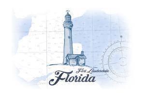 Fort Lauderdale, Florida - Lighthouse - Blue - Coastal Icon by Lantern Press