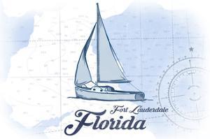 Fort Lauderdale, Florida - Sailboat - Blue - Coastal Icon by Lantern Press