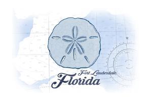 Fort Lauderdale, Florida - Sand Dollar - Blue - Coastal Icon by Lantern Press