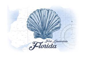 Fort Lauderdale, Florida - Scallop Shell - Blue - Coastal Icon by Lantern Press