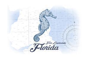 Fort Lauderdale, Florida - Seahorse - Blue - Coastal Icon by Lantern Press