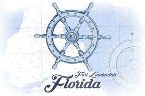 Fort Lauderdale, Florida - Ship Wheel - Blue - Coastal Icon by Lantern Press